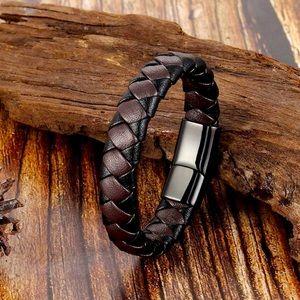Leather braided Roble men's bracelet brown black